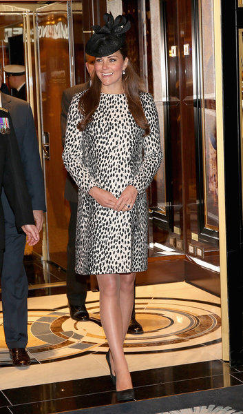 Britain's Catherine, duchess of Cambridge, leaves after a tour of the Princess Cruises' new ship Royal Princess in Southampton, England, on Thursday.