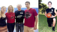 Left: Jodette and Dennis Maxey, middle, presented Brittany Cleter, 17, and Jason Kornfeld, 18, with Sean Maxey Scholarship Awards during the Coral Springs Basketball Club spring championship games. Right: Sean, who died in a car accident in November 2009, at age 16, had been in CSBC since he was 5.