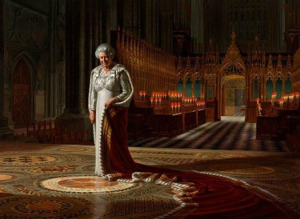 A vandal has defaced artist Ralph Heimans' portrait of Britain's Queen Elizabeth II that was commissioned to mark her 60 years on the throne and that hangs in Westminster Abbey in London.