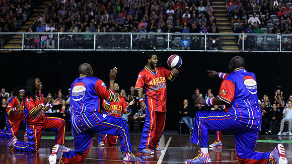 The Globetrotters perform during an exhibition match on May 25 in New Zealand.