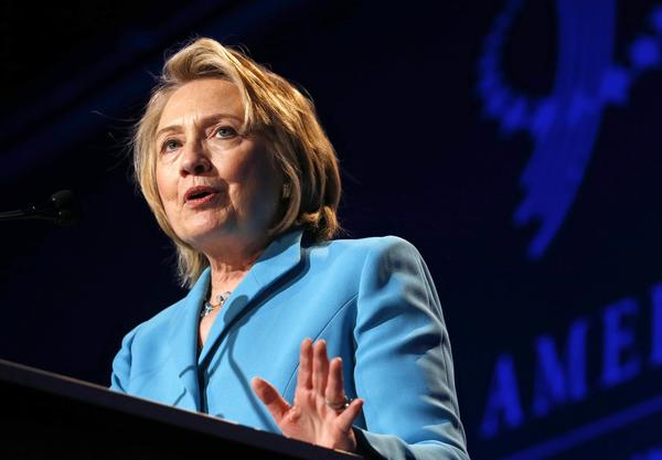 Former U.S. Secretary of State Hillary Clinton speaks at the Clinton Global Initiative America meeting in Chicago.