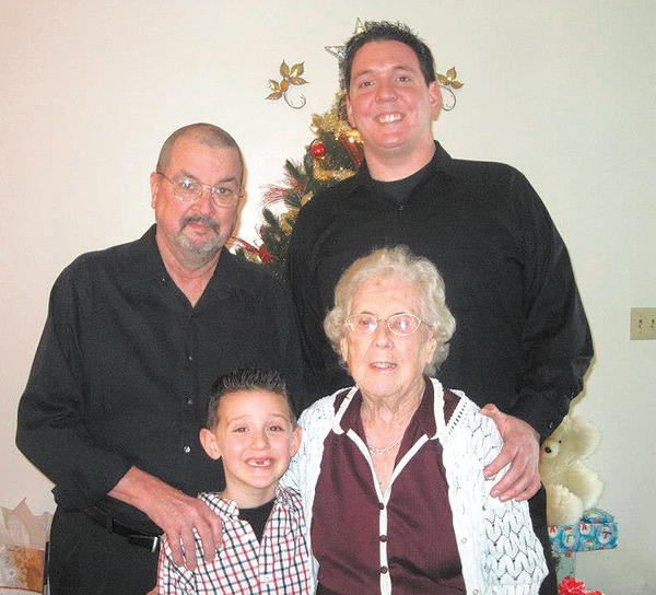 Four generations of a local family are pictured. Front row, from left, are Landon Fulks and great-grandmother Naomi Fulks. Back row, from left, grandfather Richard Fulks; and father Jeremy Fulks.