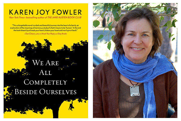"The cover of ""We Are All Completely Beside Ourselves"" and author Karen Joy Fowler."