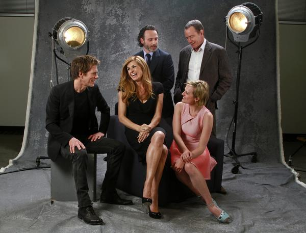 "We gather actors in TV dramas for a free-ranging conversation about their work. From left, Kevin Bacon (""The Following""), Connie Britton (""Nashville""), Andrew Lincoln (""Walking Dead""), Elisabeth Moss (""Mad Men""), Bryan Cranston (""Breaking Bad"")."