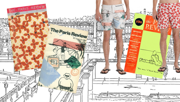The Paris Review and the vintage cover designs now on swim trunks.