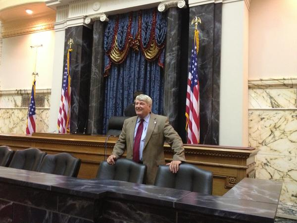 "House Speaker Michael E. Busch on the set of ""House of Cards,"" whose producers transformed the House of Delegates chamber Thursday to resemble the U.S. Senate."