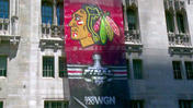 Blackhawks Stanley Cup banner revealed at Tribune Tower