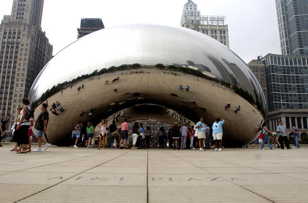 Cloud Gate, more commonly known as The Bean, was created by British artist Anish Kapoor, made of stainless steel and is located in Chicago's Millennium Park.