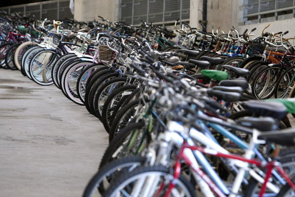 South Bend Tribune/JAMES BROSHER More than 600 bicycles donated by University of Notre Dame students are lined up and ready to be sold at the Old 2 Gold annual campus yard sale that will take place 7 to 10 a.m. Saturday at Notre Dame Stadium. Proceeds benefit local charities.