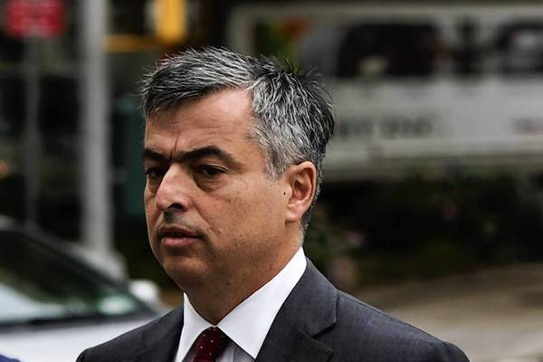 Eddy Cue, Apple's senior vice president of Internet Software and Services, arrives to testify in an antitrust trial brought against the company by the Department of Justice at Federal Court in New York.