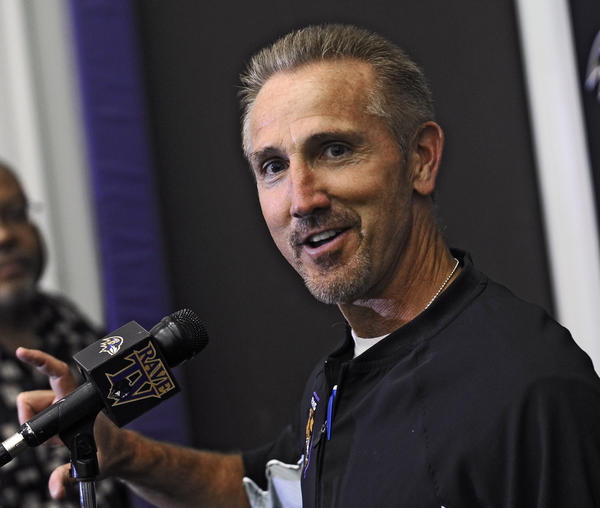 Ravens senior defensive assistant Steve Spagnuolo answers questions from reporters after third day of minicamp at the Under Armour Performance Center.