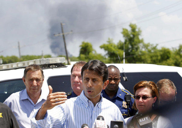 Louisiana Gov. Bobby Jindal speaks at a news conference in Geismar after a deadly explosion at a petrochemical plant on Thursday.