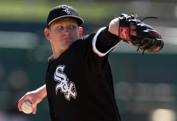 White Sox' pitcher Erik Johnson against Los Angeles Dodgers during Spring Training game at Camelback Ranch in Glendale, Arizona on Feb. 24.
