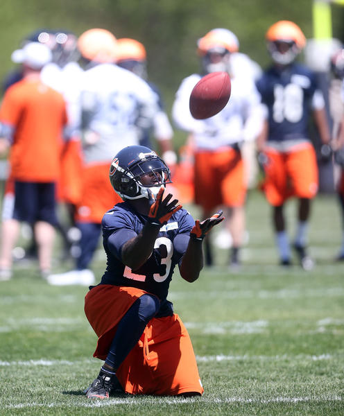 Devin Hester catches a punt at Halas Hall.