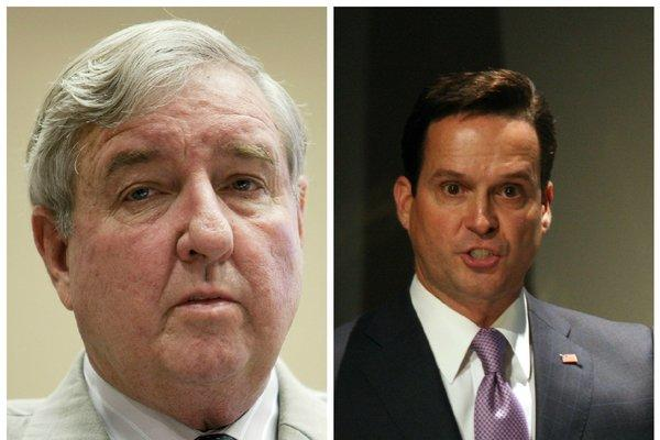 Former Los Angeles County Dist. Atty. Steve Cooley, left, and former Deputy Dist. Atty. Alan Jackson are representing film financier David Bergstein in separate lawsuits.