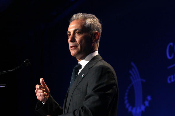 Mayor Rahm Emanuel gives remarks at the Clinton Global Initiative meeting in Chicago.