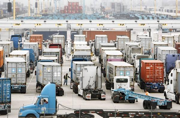 Trucks line up the Port of Los Angeles. The Supreme Court struck down part of the port's Clean Truck Program, which sought to restrict the types of trucks that carried goods to and from the port.