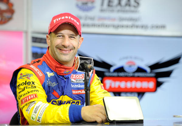 IndyCar Series driver Tony Kanaan is interviewed after finishing third in the Firestone 550 at Texas Motor Speedway.