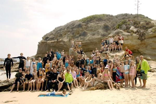 Participants of the 2012 PADRE Surfing for Diabetes Camp at Three Arch Bay in Laguna Beach.