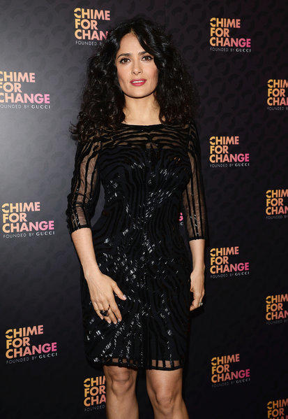 "Salma Hayek at the ""Chime For Change: The Sound Of Change Live"" concert in London."