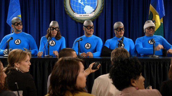 The Aquabats (James Briggs, left, Ian Fowles, Christian Jacobs, Richard Falomir and Chad Larson) meet the press.