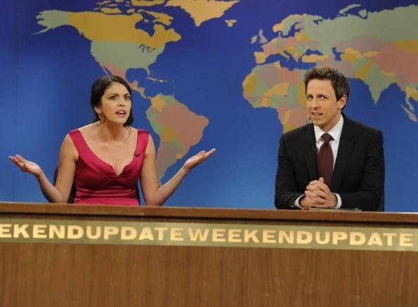 "Cecily Strong (left) plays The Girl You Wish You Hadn't Started a Conversation with at a Party on ""Saturday Night Live."""