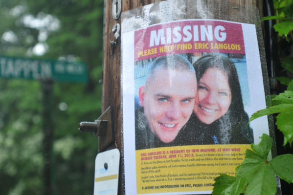 A sign in Bridgewater near Lake Lillinonah. Eric Langlois, a Connecticut photographer, is missing and may have fallen into the Housatonic River at Lovers Leap State Park. Search boats spent Wednesday at the lake searching or him.