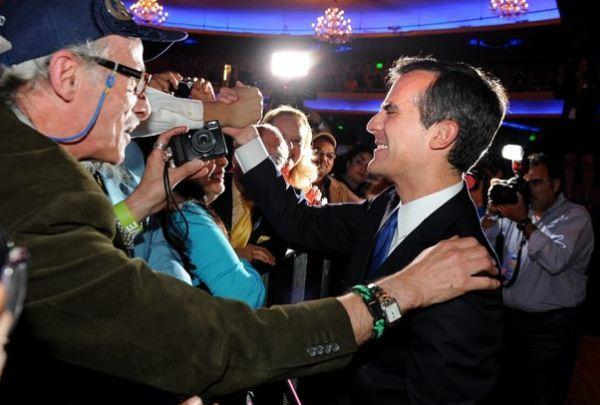 Eric Garcetti greets supporters at the Hollywood Palladium on election night.