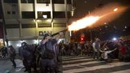 "SAO PAULO, Brazil -- Police used tear gas and rubber bullets Thursday night to disperse thousands of protesters in Sao Paulo who had been chanting, ""The love is over -- Turkey is right here"" before fleeing the law enforcement onslaught."