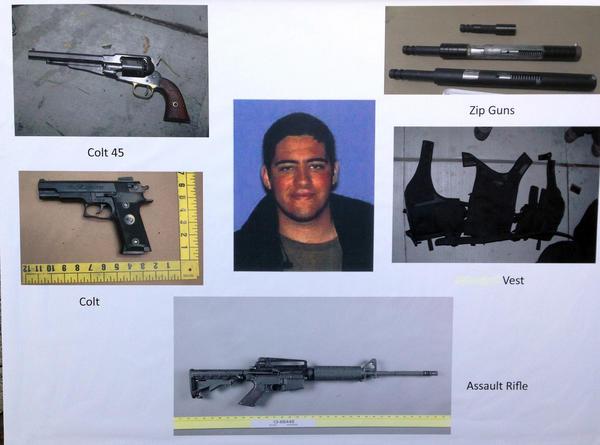 Photos released by Santa Monica Police showing some of the weapons and ammunition John Zawahri had in his possession.