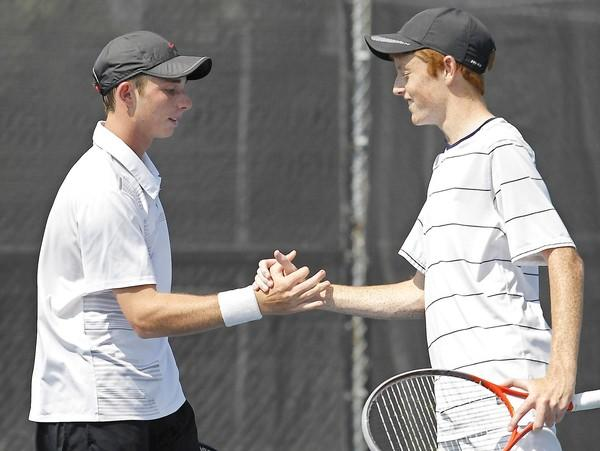 Reese Stalder, right, of Newport Harbor, seen here last year teamed with Henry Gordon, left, of Corona del Mar, will team with Austin Rapp of Rancho Mirage for this year's Southern California Junior Sectionals.