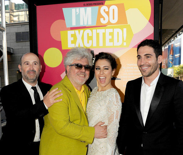 "Actor Javier Camara, left, director Pedro Almodovar, actors Blanca Suarez and Miguel Angel Silvestre arrive at the North American premiere of ""I'm So Excited!"" during the 2013 Los Angeles Film Festival."