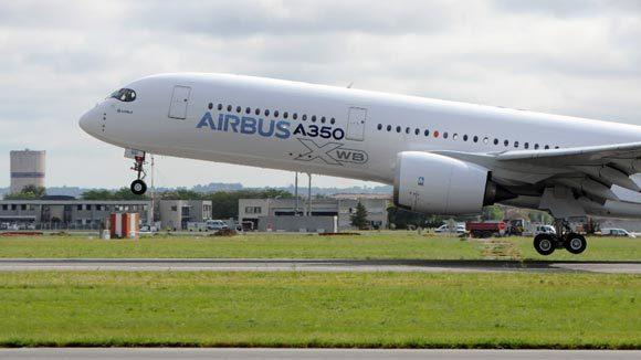 Airbus's next-generation A350 plane takes off from Toulouse-Blagnac airport, southwestern France, on its first test flight on Friday.