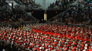 The Parkland High School commencement disturbance during which a spectator allegedly punched a Marine did not interrupt the Wednesday night ceremonies at Stabler Arena, the school district said Thursday.