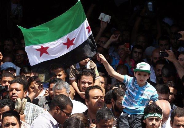 Egyptians protest against Syrian President Bashar al-Assad at Amr Bin Aas mosque