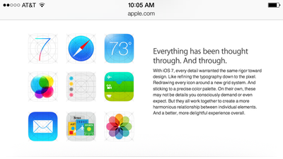Amid criticism, Apple website showing off alternate iOS 7 icons