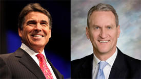 Texas Gov. Rick Perry, left, and South Dakota Gov. Dennis Daugaard will both be visiting Connecticut gun manufacturers next week.