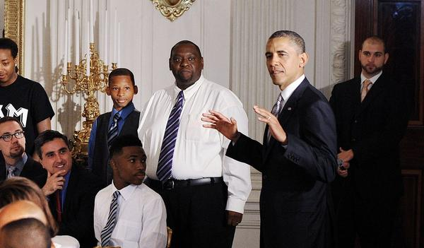 President Barack Obama speaks at a Father's Day luncheon at the White House on Friday with a group of fathers with their children as well as students and leaders of the Becoming A Man (BAM) program from Hyde Park Academy High School.