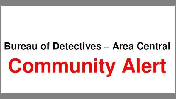 Logo for a Community Alert from Area Central detectives