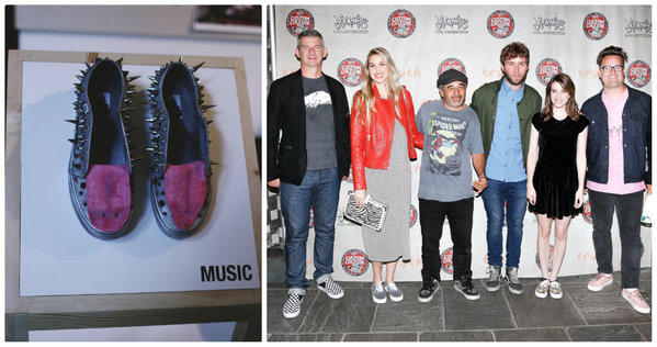 At left, one of the designs submitted by Lakeridge High School, winner of the 2013 Vans Custom Culture Contest. At right, Vans President Kevin Bailey, from left, with contest judges Whitney Port, Steve Caballero, Timo Weiland, Emma Roberts and Christian Jacobs.