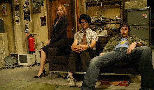 "From left, Katherine Parkinson, Richard Ayoade and Chris O'Dowd of ""The IT Crowd."""