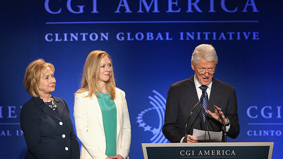 Former President Bill Clinton, his wife former Secretary of State Hillary Clinton and their daughter Chelsea Clinton speak to guests at the Clinton Global Initiative America on June 14. The CGI was established in 2005 with the intention of convening world leaders to address pressing global issues.