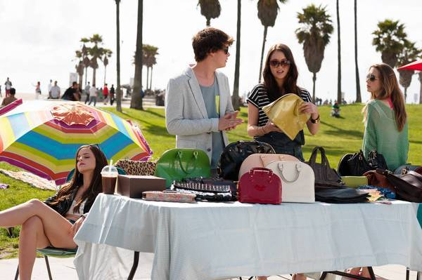 "Emma Watson, left, Israel Broussard, Katie Chang and Taissa Farmiga sell stolen goods in ""The Bling Ring."""
