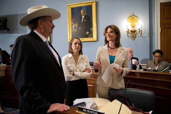 From 1995 through 2012, according to USDA figures compiled by the Washington-based Environmental Working Group, the farm that Rep. Doug LaMalfa (R-Richvale) co-owns with other family members has collected $5.1 million in government crop subsidies. Above, LaMalfa, left, speaks with Rep. Cheri Bustos (D-Ill.) on Capitol Hill last month. At center is an unidentified aide.