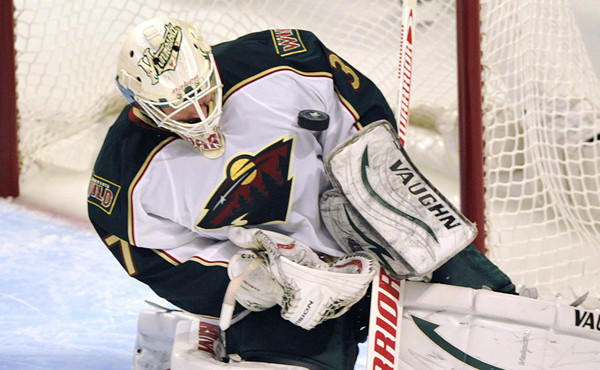 Minnesota Wild goalie Josh Harding stops a shot during the opening round of the Stanley Cup playoffs against the Chicago Blackhawks in April. Harding won the NHL's Masterton Trophy on Friday.