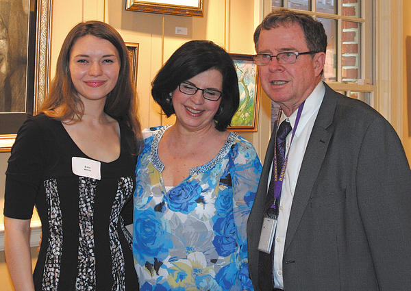 From left, Erin Mettille, Kathy Thorsen and Michael Thorsen, principal of Barbara Ingram School for the Arts.