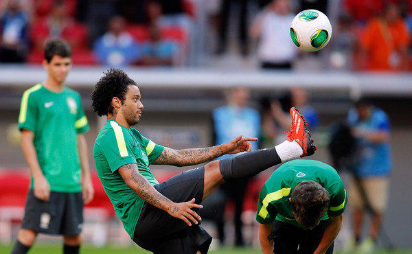Brazil's Marcelo takes part in a team training session Friday in preparation for the FIFA Confederations Cup.