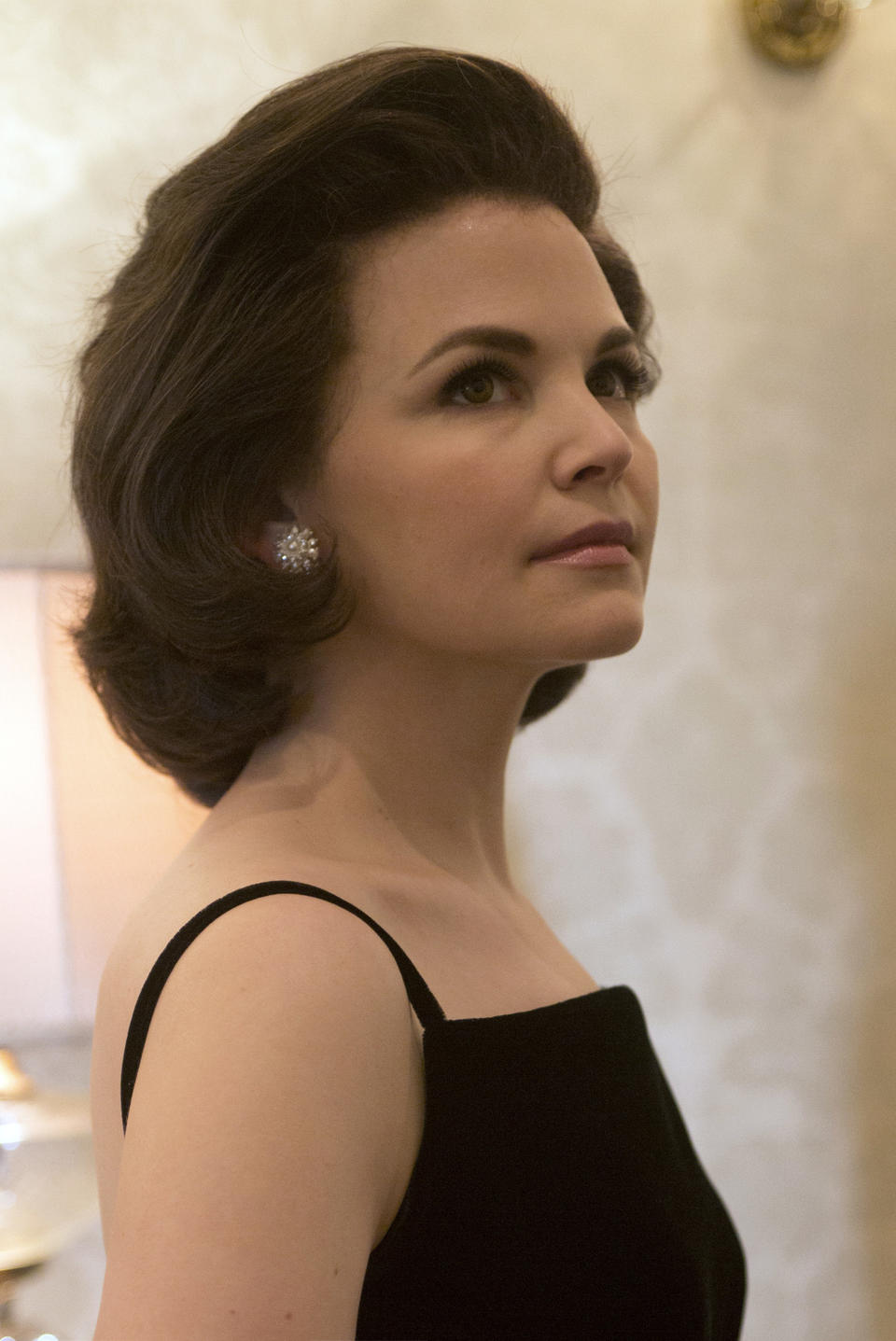 """Earlier this week we got our first look of Rob Lowe as President John F. Kennedy on the set of National Geographic Channel's """"Killing Kennedy."""" Now we get to see Ginnifer Goodwin as first lady Jacqueline Kennedy. The two-hour movie, which is filming in Richmond, Va., will air in November. Michelle Trachtenberg costars as Marina Oswald and Will Rothhaar plays Lee Harvey Oswald."""