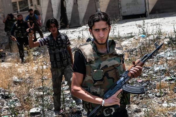 Syrian rebels are seen in Maarat Numan. The Obama administration announced last week it had reached the conclusion that the Syrian regime had used sarin gas on its people.