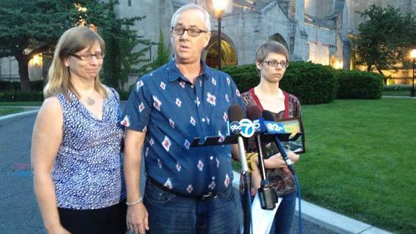 From left: Austin Hudson-Lapore's mother, Laurie Hudson; father, Gregg LaPore; and sister, Aidan Hudson-Lapore speak outside Rockefeller Memorial Chapel on the University of Chicago.